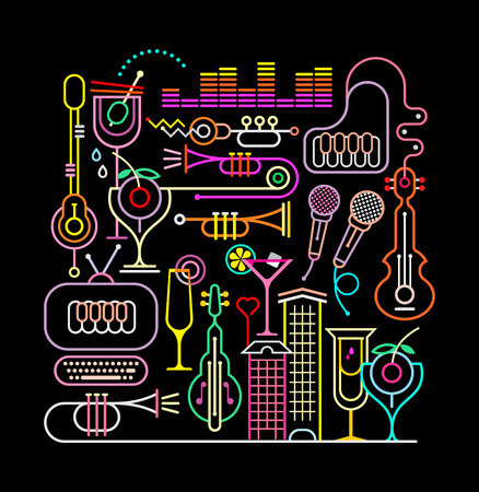 Neon colors on a black background music party vector illustration. Çizim