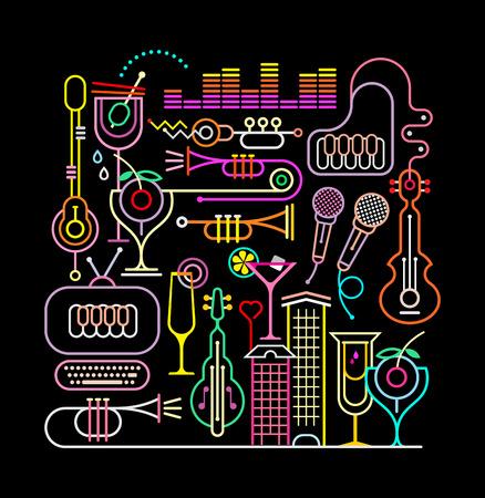 Neon kleuren op een zwarte achtergrond muziek partij vector illustratie.