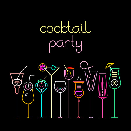 Neon colors on a black background Cocktail Party vector illustration. Ten various cocktail glasses and Cocktail Party text. Invitation vector poster. Çizim