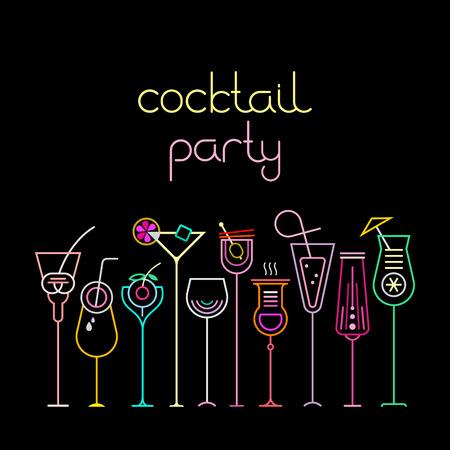Neon kleuren op een zwarte achtergrond Cocktail Party vector illustratie. Tien verschillende cocktailglazen en Cocktail Party tekst. Uitnodiging vector poster.