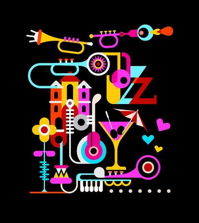 coquetel: Colagem do vetor do tema musical com o texto Jazz.