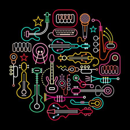 Instrumenty muzyczne okrągłe ilustracji. kolory neonowe sylwetki na czarnym tle.
