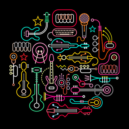 abstract music background: Musical instruments round illustration. Neon colors silhouettes on a black background.