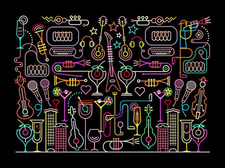 Neon kleuren op een zwarte achtergrond Nachtclub Cocktail Party illustratie. Abstracte kunst compositie. Stock Illustratie