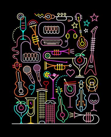 piano: colores de neón en un fondo negro ilustración Karaoke Party. Composición línea de arte abstracto.