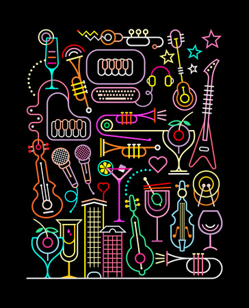 Neon colors on a black background Karaoke Party  illustration. Abstract art line composition.