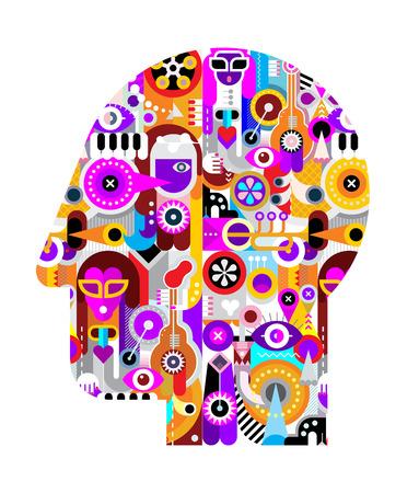 arte abstracto: Ilustración abstracta principal de arte aislado en un fondo blanco. mentes artísticas creativas.