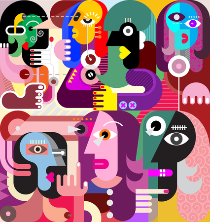 A large company of people who have something to discuss. Modern abstract fine art illustration. Vettoriali