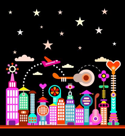 ciudad moderna bajo el cielo estrellado ilustración. perfil futurista de la ciudad. Ilustración de vector