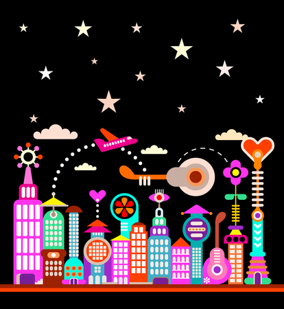 starry sky: Modern city under starry sky illustration. Futuristic city skyline.
