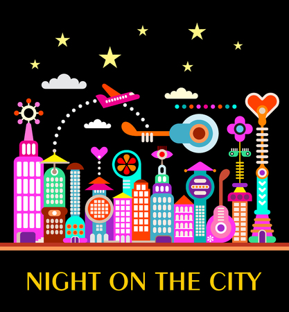 Vibrant colors on a black background Future City illustration. Various modern buildings and Night on the City text. Illustration