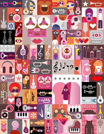 diversity: Graphic art collage of many various images illustration. Seamless wallpaper.