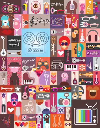 hobby: Graphic art collage of many various images. Vector illustration. Seamless wallpaper.
