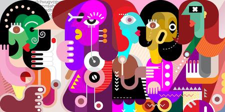 Abstrakte Kunst-Porträt von fünf erwachsenen Menschen. Darstellung eines großen Unternehmens von Menschen, die etwas zu besprechen haben.