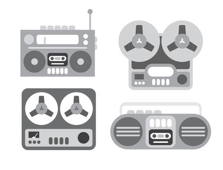 blaster: Four old players gray flat icons isolated on a white background. Boom box and tape recorder. Illustration
