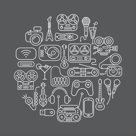 home entertainment: Art line on a dark grey background Entertainment and Home electronics icon set. Round shape illustration. Illustration