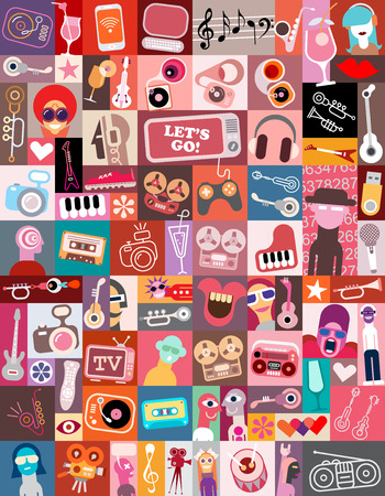 art collage of various images with a musical and entertainment themes featuring the Lets Go! text.