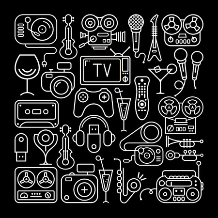 home entertainment: Art line on a black background Entertainment and Home electronics icon set.