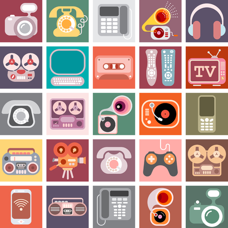 computer art: Collage of various colorful images with a home electronics theme.