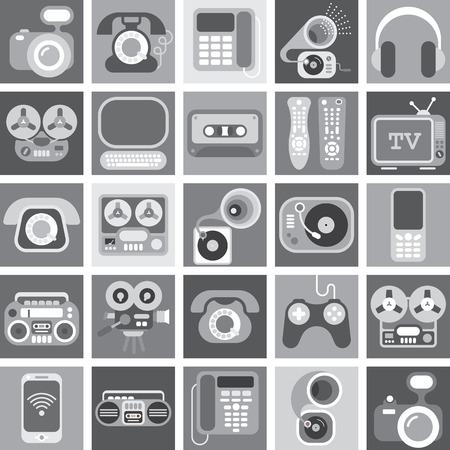 film tape: Collage of various greyscale images with a home electronics theme. Illustration