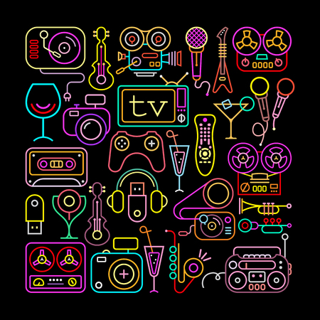 boom box: Entertainment icons  square shape vector illustration. Neon colors silhouettes on a black background.