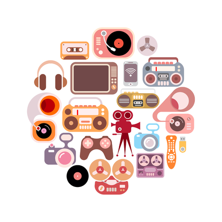 console table: Electronic icons in the circle shape. Colorful flat images isolated on a white background.