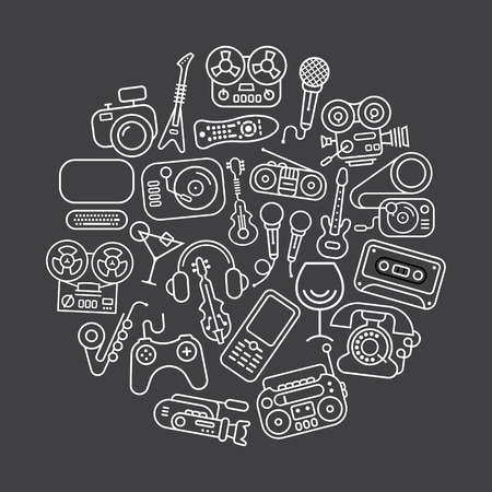 home entertainment: Art line on a dark grey background Entertainment and Home electronics vector icon set. Round shape illustration. Illustration