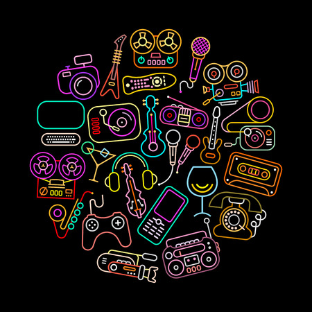 boom box: Entertainment icons round shape vector illustration. Neon colors silhouettes isolated on a black background. Illustration