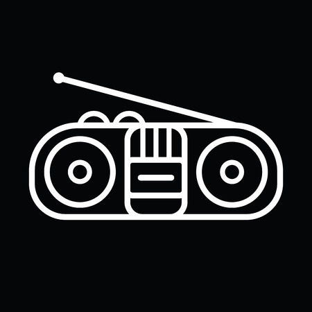 ghetto blaster: Old cassette player line art vector icon isolated on a black background.