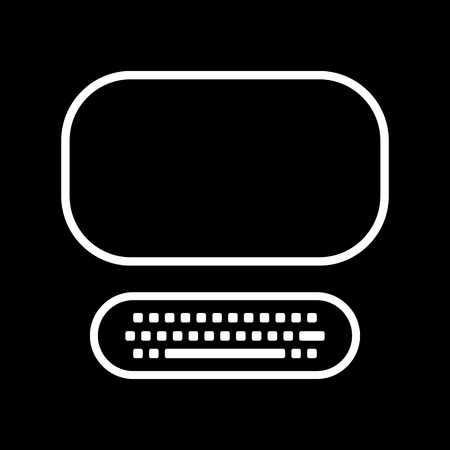 computer art: Computer line art vector icon isolated on a black background.