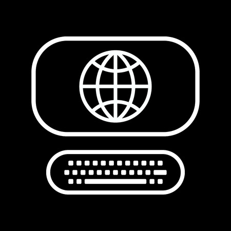 computer art: Vector line art computer icon with globe sign isolated on a black background Illustration