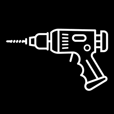 power tool: Electric drill line art vector icon isolated on a black background. Hammer drill, perforator. Illustration