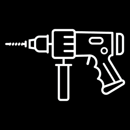 perforator: Electric hammer drill line art vector icon isolated on a black background. Perforator tool. Illustration