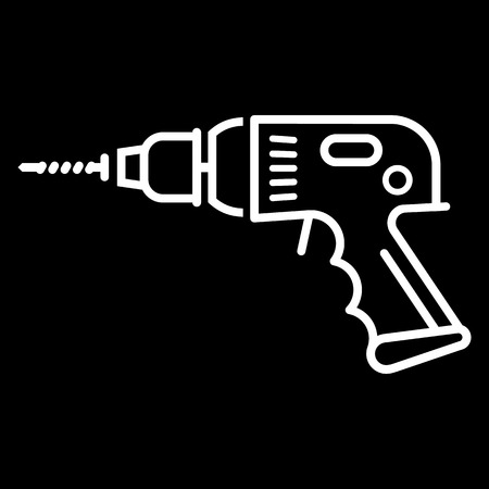 Electric drill line art vector icon isolated on a black background. Hammer drill, perforator. Illustration