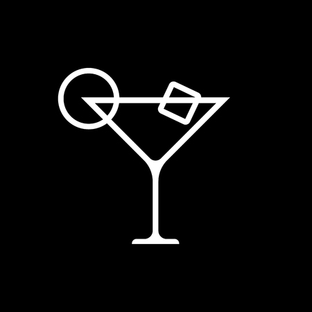 icecube: Martini cocktail line art vector icon isolated on a black background. Illustration