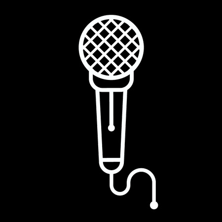 vector art: Microphone line art vector icon isolated on a black background. Illustration