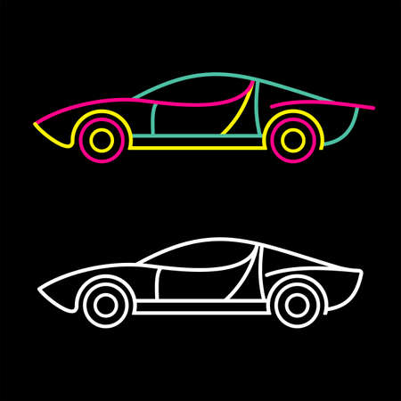 coupe: Neon colors on a black background Sports Car illustration. Illustration