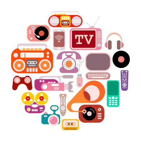 boom box: Electronic icons in the round shape. Colorful flat vector images isolated on a white background. Illustration