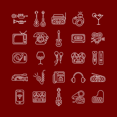 electric guitar: Line art vector icon set isolated on a brown background. Entertainment symbols.