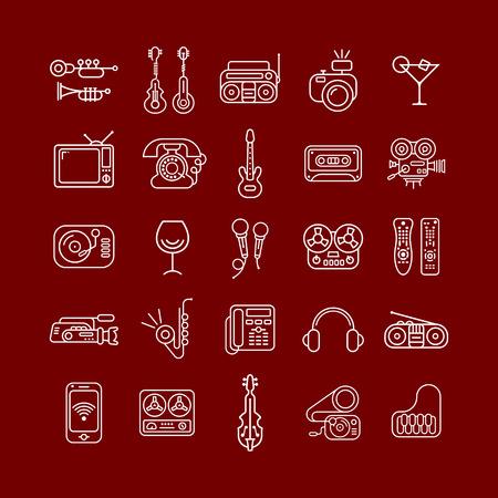gitara: Linia sztuki wektor zestaw ikon samodzielnie na brązowym tle. Symbole rozrywki.