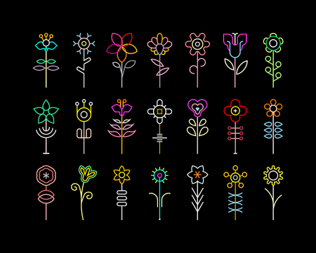art background: Neon colors on a black background flower vector icon set.