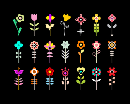calla lily: Colorful on a black background flower icon set. Illustration