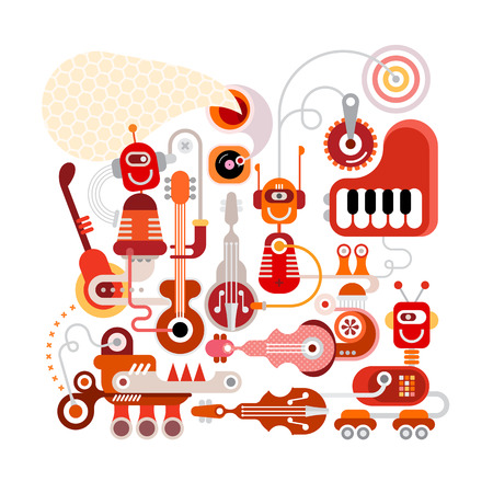 Musical robots illustration isolated on a white background