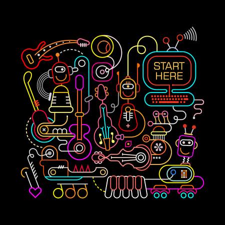 recording studio: Neon colors on a black background Futuristic Recording Studio illustration. Abstract line art composition. Illustration