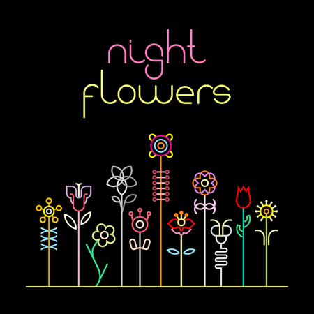 neon sign: Neon colors on a black background Night Flowers vector illustration. Various flowers and Night Flowers text.