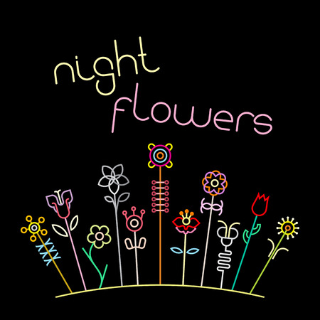 aster flower: Neon colors on a black background Night Flowers vector illustration. Various flowers and Night Flowers text.