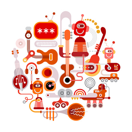 recording: Futuristic recording studio illustration. Round shape art collage of a musical instruments, robots and electronic equipment isolated on a white background. Illustration