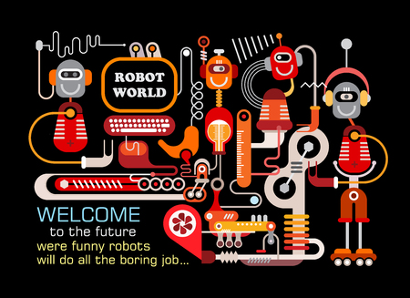 bot: Robot World. Manufacturing robots illustration isolated on a black background. Illustration