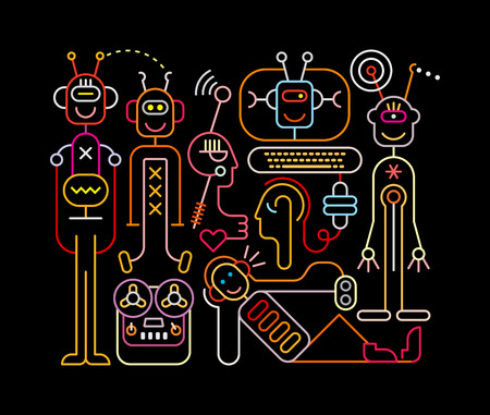 science lab: Neon colors on a black background Funny Robots vector illustration.  Welcome to the future, were funny robots will do all the boring job.