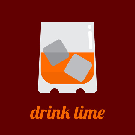 whisky glass: Glass of whisky with ice cubes and Drink Time text. Flat vector icon isolated on a brown background.